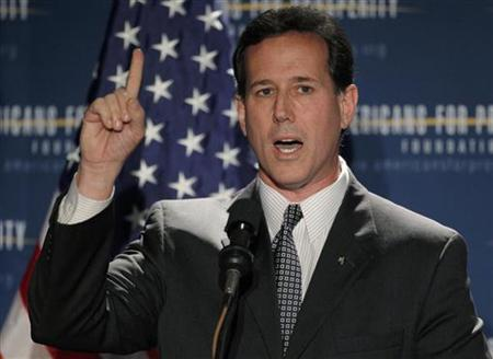 Former U.S. Senator and likely Republican presidential candidate Rick Santorum (R-PA) speaks at the Americans for Prosperity Foundation's ''Presidential Summit on Spending and Job Creation'' in Manchester, New Hampshire April 29, 2011. REUTERS/Brian Snyder