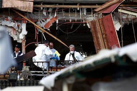 Spanish investigators work at the scene of an explosion at Argana cafe in Marrakesh's Jamaa el-Fnaa square April 29, 2011. REUTERS/Youssef Boudlal