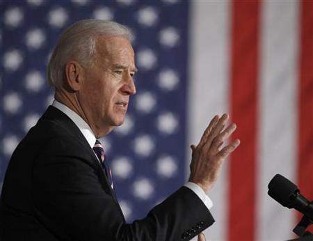 U.S. Vice President Joseph Biden speaks at the 30th Street Station in Philadelphia, February 8, 2011. REUTERS/Larry Downing