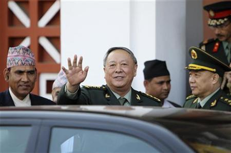 Chinese People's Liberation Army (PLA) Chief of General Staff Chen Bingde waves after his meeting with Nepalese President Ram Baran Yadav at the President's office in Kathmandu March 24, 2011. REUTERS/Navesh Chitrakar