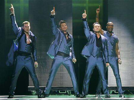 Blue of United Kingdom performs their song 'I Can' during a rehearsal for the Eurovision Song Contest in Duesseldorf May 13, 2011. REUTERS/Wolfgang Rattay