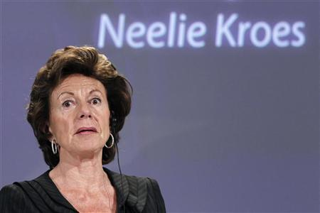 European Commission's vice president Neelie Kroes addresses a news conference on the European Digital Agenda at the EU Commission headquarters in Brussels May 19, 2010. REUTERS/Francois Lenoir