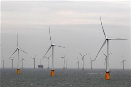 Wind turbines are seen at Thanet Offshore Wind Farm off the Kent coast in southern England September 23, 2010. New Jersey opened the window for applications to build what could be the nation's first offshore wind power projects. REUTERS/Stefan Wermuth