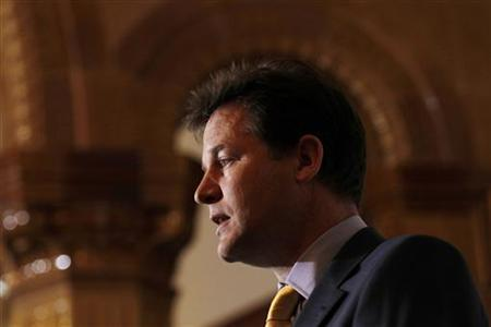 Deputy Prime Minister and leader of the Liberal Democrat Party Nick Clegg speaks during a news conference in central London May 11, 2011. REUTERS/Stefan Wermuth