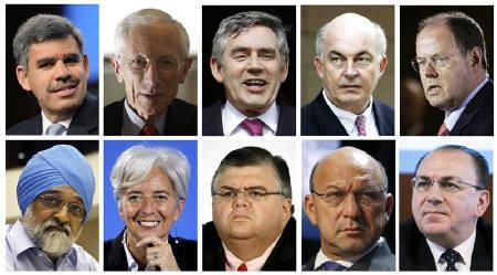 A combination photo of possible successors to Dominique Strauss-Kahn. (top L-R) Mohamed El-Erian, Stanley Fischer, Gordon Brown, Kemal Dervis, Peer Steinbrueck of Germany, (bottom L-R) Montek Singh Ahluwalia of India, Christine Lagarde of France, Agustin Carstens of Mexico, Trevor Manuel of South Africa and Axel Weber of Germany.  REUTERS/Staff