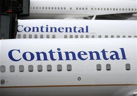Continental jets are parked at Terminal C at Newark Liberty International Airport in Newark, New Jersey, May 3, 2010. REUTERS/Jeff Zelevansky