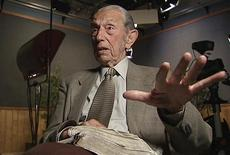 <p>Harold Camping, 89, the California evangelical broadcaster who predicts that Judgment Day will come on May 21, 2011, is seen in this still image from video during an interview at Family Stations Inc. offices in Oakland, California May 16, 2011. REUTERS/Reuters Television</p>