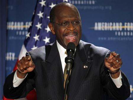 Businessman and likely Republican presidential candidate Herman Cain speaks at the Americans for Prosperity Foundation's ''Presidential Summit on Spending and Job Creation'' in Manchester, New Hampshire April 29, 2011. REUTERS/Brian Snyder