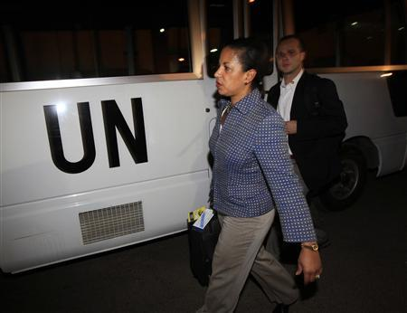 U.S. Ambassador Susan Rice arrives with a delegation of U.N. Security Council at Khartoum Airport May 21, 2011. REUTERS/Mohamed Nureldin Abdallah