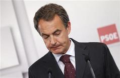 <p>Лидер социалистической партии и нынешний премьер-министр Испании Хосе Луис Родригес Сапатеро на пресс-конференции в Мадриде, 22 мая 2011 года. Правящая социалистическая партия Испании потерпела сокрушительное поражение на местных выборах, состоявшихся в воскресенье. REUTERS/Juan Medina</p>