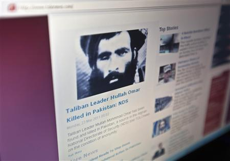 The Tolonews website runs a story on its front page reporting about news of the death of Taliban leader Mullah Mohammad Omar in Kabul May 23, 2011. REUTERS/Ahmad Masood