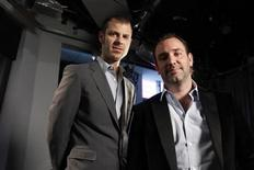 "<p>South Park creators Matt Stone (L) and Trey Parker pose for a photo in New York March 18, 2011. Stone and Parker are currently promoting their Broadway play, ""Book of Mormon"". REUTERS/Jessica Rinaldi</p>"