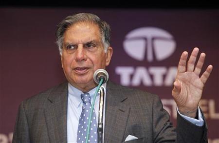 Ratan Tata, Chairman of the Tata Group, gestures during the annual general meeting of Tata Steel Ltd., in Mumbai August 13, 2010. REUTERS/Danish Siddiqui