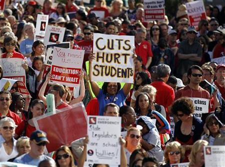 People protest against education budget cuts in Los Angeles, California May 13, 2011. REUTERS/Lucy Nicholson