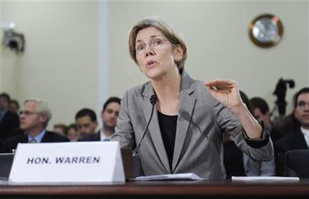 Elizabeth Warren, Assistant to the President and Special Adviser to the Treasury secretary on the Consumer Financial Protection Bureau, gives testimony at a hearing about oversight of the Consumer Financial Protection Bureau to the U.S. House Oversight and Government Reform Committee on Capitol Hill in Washington, May 24, 2011. REUTERS/Jonathan Ernst