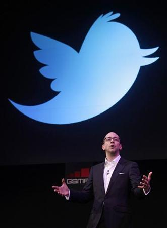 Twitter's CEO Dick Costolo gestures during a conference at the GSMA Mobile World Congress in Barcelona, February 14, 2011. REUTERS/Albert Gea