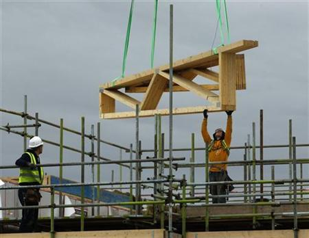 Construction workers work at a building site of new apartments in Havant, southern England January 5, 2011. BREUTERS/Luke MacGregor