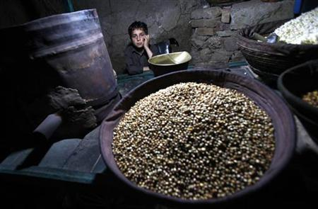 Eight-year-old Ali Asghar waits for customers as he sells roasted corn at a makeshift stall in Abbottabad May 18, 2011. REUTERS/Akhtar Soomro