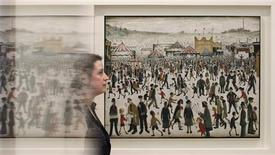 "<p>An employee poses for a photograph with L.S. Lowry's ""Lancashire Fair. Good Friday. Daisy Nook"", selected for exhibition by Samantha Cameron, the wife of Britain's Prime Minister David Cameron, during the press view of ""Government Art Collection : At Work"", at the Whitechapel Gallery in London June 3, 2011. REUTERS/Luke MacGregor</p>"
