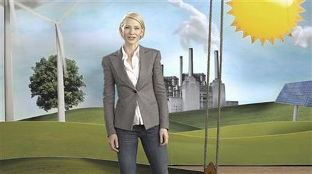 Academy Award winner Australian Cate Blanchett is seen in a TV commercial of ''Say Yes to the carbon tax'' in this still image taken from video, in Sydney May 30, 2011. REUTERS/Say Yes/TV image