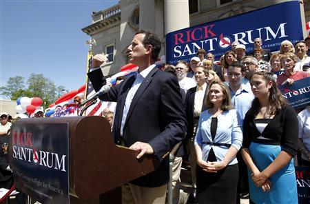 Former Senator Rick Santorum (C) addresses supporters at a rally to officially announce his candidacy for President of the United States on the steps of the courthouse in Somerset, Pennsylvania June 6, 2011. REUTERS/Jason Cohn