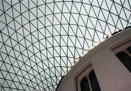 The glass and steel roof of the Great Court of the British Museum is seen in London March 8, 2008. REUTERS/John Goh