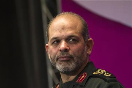 Iranian Defense Minister Ahmad Vahidi looks on as he attends the 24th Khwarizmi International Award (KIA) at the Iran's state television conference centre in northern Tehran February 5, 2011. REUTERS/Morteza Nikoubazl