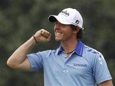 Northern Ireland's Rory McIlroy celebrates after winning the 2011 U.S. Open golf tournament at Congressional Country Club in Bethesda, Maryland, June 19, 2011. REUTERS/Kevin Lamarque