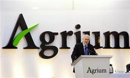 <p>Michael Wilson, president and chief executive officer of Agrium, addresses shareholders at the company's annual general meeting in Calgary, Alberta, May 12, 2010. REUTERS/Todd Korol</p>