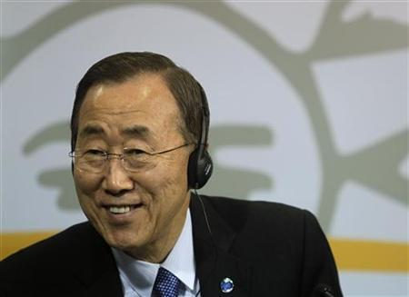 U.N. Secretary-General Ban Ki-Moon smiles during a news conference after a meeting with Uruguay's President Jose Mujica (not pictured) at the presidential house in Montevideo June 14, 2011. REUTERS/Andres Stapff