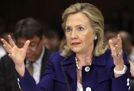 U.S. Secretary of State Hillary Clinton gestures as she testifies before the Senate Foreign Relations Committee hearing on Evaluating Goals and Progress in Afghanistan and Pakistan, on Capitol Hill in Washington June 23, 2011. REUTERS/Yuri Gripas