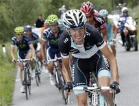 <p>Leopard's team rider Andy Schleck of Luxembourg cycles to place second of the seventh stage of Tour de Suisse cycling race from from Vaduz in Liechtenstein to Davos in Switzerland and then finish in Serfaus in Austria June 17, 2011. REUTERS/Denis Balibouse</p>