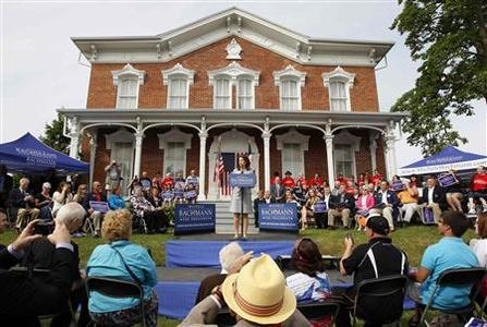Rep. Michele Bachmann addresses a gathering of supporters to formally launch her campaign for the 2012 Republican presidential nomination in her childhood hometown of Waterloo, Iowa, June 27, 2011. REUTERS/Jeff Haynes