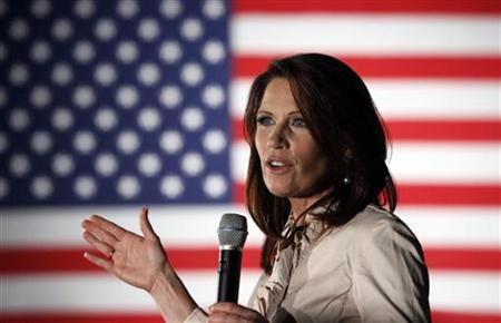 U.S. Rep. Michele Bachmann (R-MN) addresses her hometown crowd at an event the day before the official announcement of her entering the 2012 presidential race, in Waterloo, Iowa June 26, 2011. REUTERS/Jeff Haynes