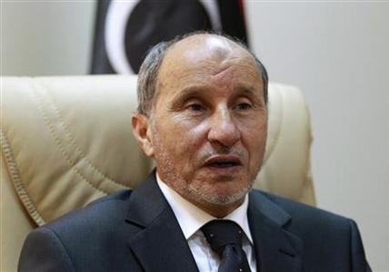 Head of National Transitional Council Mustafa Abdel Jalil speaks during an interview with Reuters in Benghazi July 3, 2011. REUTERS/Thaier al-Sudani