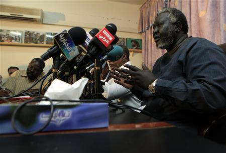 Malik Agar, head of the northern branch of the Sudan People's Liberation Movement (SPLM) speaks during a joint news conference with SPLM north's secretary general Yasir Arman, in Khartoum, July 3, 2011, about the situation in Southern Kordofan and the Blue Nile state. REUTERS/ Mohamed Nureldin Abdallah