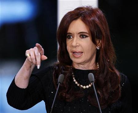Argentine President Cristina Fernandez de Kirchner gestures during a ceremony in which she unveiled Economy Minister Amado Boudou as her running mate for the upcoming October 23 presidential elections in Buenos Aires, June 25, 2011. REUTERS/Marcos Brindicci