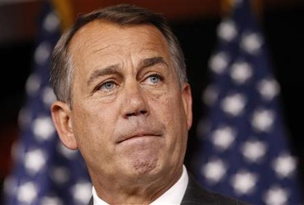 Speaker of the House John Boehner listens to a question during a news conference about the jobs numbers in the Capitol in Washington July 8, 2011. REUTERS/Kevin Lamarque