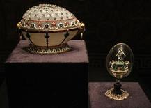 "<p>The Renaissance Egg (L) and the Resurrection Egg are displayed at the exhibition ""Faberge. The Sacred Images"" in the Vatican Museums, April 14, 2011. REUTERS/Tony Gentile</p>"