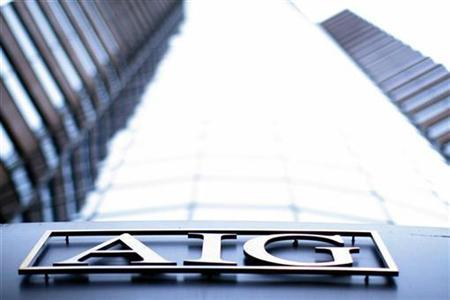 The AIG logo at their offices in New York in a file photo. REUTERS/Eric Thayer