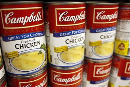 Cream of Chicken Campbell's Condensed Soup is stocked on a shelf at a grocery store in Phoenix, Arizona, February 22, 2010. REUTERS/Joshua Lott