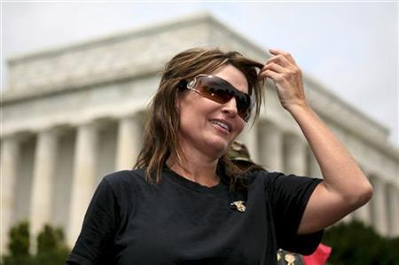 Sarah Palin, former governor of Alaska, stands near the Lincoln Memorial after taking part in the Rolling Thunder motorcycle ride to honor U.S. veterans, in Washington May 29, 2011. REUTERS/Molly Riley