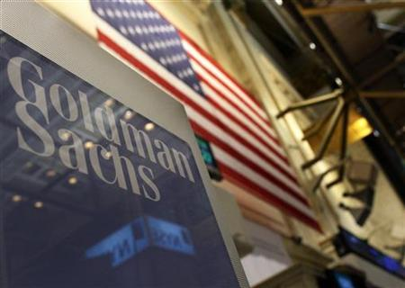A Goldman Sachs sign is seen above their booth on the floor of the New York Stock Exchange, January 19, 2011. REUTERS/Brendan McDermid