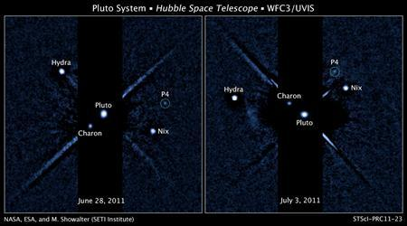 Two images, taken about a week apart by NASA's Hubble Space Telescope, show four moons orbiting the distant, icy dwarf planet Pluto. The green circle in both snapshots marks the newly discovered moon, temporarily dubbed P4, found by Hubble in June. REUTERS/NASA