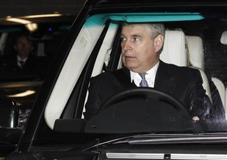 Prince Andrew leaves after attending the Big Bang: UK Young Scientists and Engineers Fair 2011 at the ExCeL centre in London in this March 10, 2011 file photo. REUTERS/Luke MacGregor