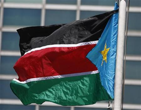 The flag of South Sudan flies after the United Nations General Assembly voted on South Sudan's membership to the United Nations at UN headquarters in New York July 14, 2011. REUTERS/Shannon Stapleton