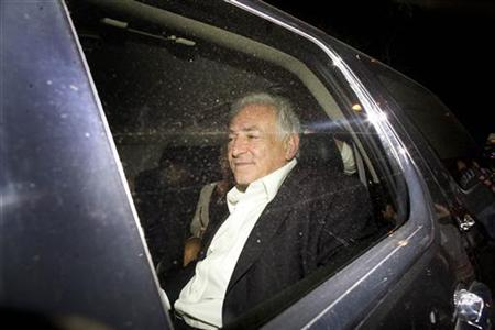 Former IMF Chief Dominique Strauss-Kahn leaves Scalinatella restaurant on the Upper East Side of Manhattan, July 1, 2011. REUTERS/Allison Joyce