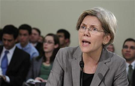 Elizabeth Warren, Assistant to the President and Special Advisor to the Secretary of the Treasury, testifies at a hearing about oversight of the Consumer Financial Protection Bureau of the U.S. House Oversight and Government Reform Committee on Capitol Hill in Washington, May 24, 2011. REUTERS/Jonathan Ernst