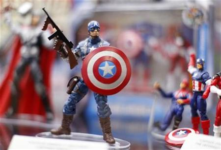 Toy figurines of ''Captain America'' are shown on display at the pop culture event Comic Con in San Diego, California July 22, 2011. REUTERS/Mike Blake