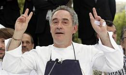 <p>Ferran Adria, chef and co-owner of El Bulli restaurant, gestures during a news conference outside the restaurant in Cala Montjoi, near Roses, July 30, 2011. REUTERS/Albert Gea</p>